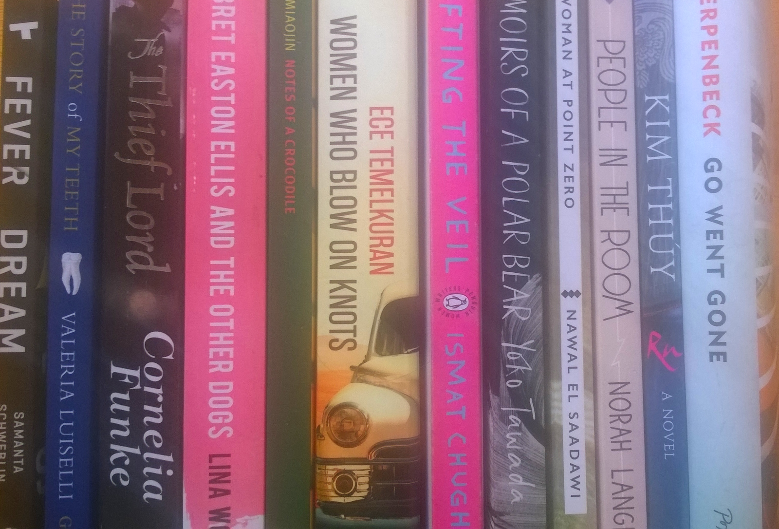 Row of books, all by female authors in translation